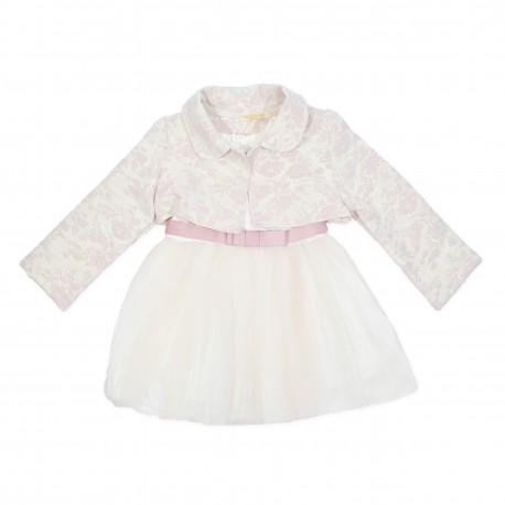Rochita copii roz pudra cu bleizer eleganta F40